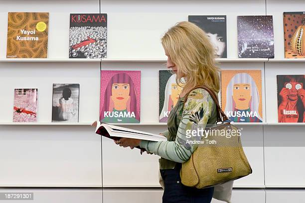 Guest attends the Yayoi Kusama 'I Who Have Arrived In Heaven' Exhibition Press Preview at David Zwirner Art Gallery on November 7 2013 in New York...