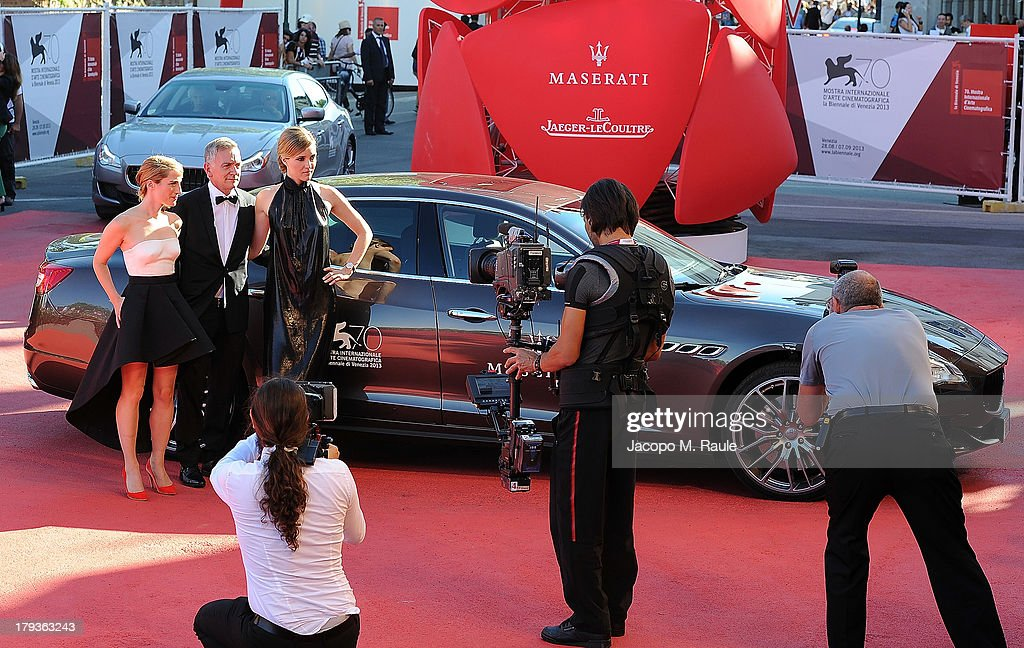 Guest Author Michel Marc Bouchard and actress Evelyne Brochu attend the 'Tom At The Farm' Premiere during the 70th Venice International Film Festival...