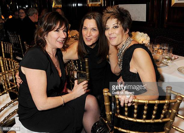 Guest Barbara Broccoli and Peggy Siegal attend the Charles Finch and Chanel PreBAFTA cocktail party and dinner at Annabel's on February 8 2013 in...