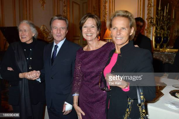 A guest Bernard Kouchner Kati Marton and Christine Ockrent attend the launch of 'Paris A Love Story' by Kati Marton at US Ambassador Residence on...