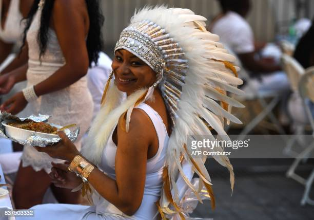 Guest Cara Fort attends the annual New York City Diner en Blanc August 22 2017 held this year at the plaza at Lincoln Center The Diner en Blanc the...