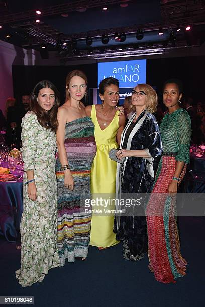 guest Carolina Neri Viviana Volpicella guest and Tamu McPherson attends the dinner of amfAR Milano 2016 at La Permanente on September 24 2016 in...