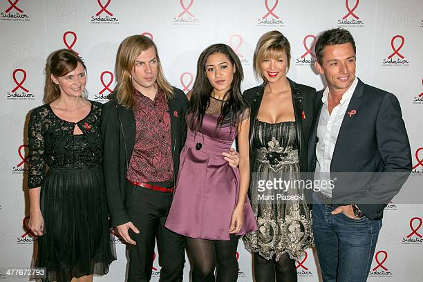 A guest Christophe Guillarme Josephine Jobert and guests attend the 'Sidaction 20th Anniversary' at Musee du Quai Branly on March 10 2014 in Paris...