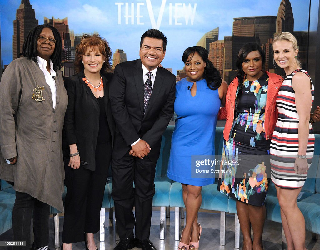 """THE VIEW - (5.7.13) Guest co-host Mindy Kaling (""""The Mindy Project""""); George Lopez (author, I'm Not Gonna Lie); musical guest 98 Degrees; Nina Blackwood, Mark Goodman, Alan Hunter and Martha Quinn (book, HASSELBECK"""