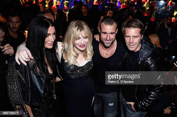 guest Courtney Love Philipp Plein and Emanuele Filiberto di Savoia attend the Philipp Plein show during the Milan Fashion Week Spring/Summer 2016 on...
