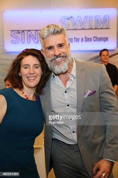 Guest Curator/KCRW Radio Host Frances Anderton and AIA's Carlo Caccavale pose at the Annenberg Space for Photography Opening Reception for 'Sink or...