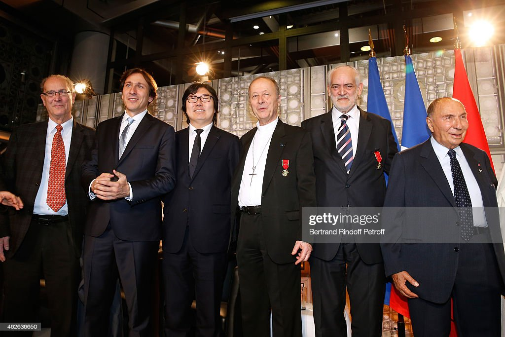 Guest, Deputy Jerome Guedj, Senator Jean-Vincent Place, Bishop of Evry, awarded Michel Dubost, Rabbi of Ris Orangis, awarded Michel Serfaty and <a gi-track='captionPersonalityLinkClicked' href=/galleries/search?phrase=Serge+Dassault&family=editorial&specificpeople=780308 ng-click='$event.stopPropagation()'>Serge Dassault</a> attend HRH The Princess Lalla Meryem of Morocco delivers the insignia of the Order of the Throne. Held at Institut du Monde Arabe on February 1, 2015 in Paris, France.