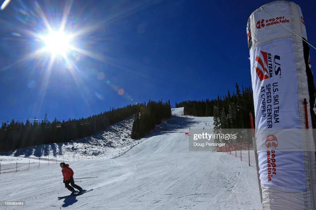 A guest descends the downhill course as members of the US Ski Team host guests on a tour of the US Ski Team Speed Center at Copper on October 31, 2012 at Copper Mountain, Colorado. The athletes will begin training at the facility on November 1, 2012.