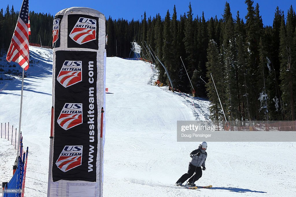 A guest descends the downhill course as members of the US Ski Team host a tour of the US Ski Team Speed Center at Copper on October 31, 2012. The athletes will begin training at the facility on November 1, 2012.