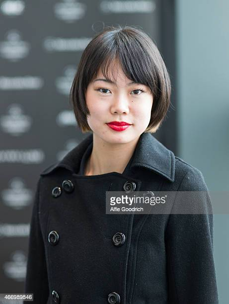 A guest detail is seen wearing a thriftstore jacket during the Mercedes Benz Fashion Week TOKYO 2015 A/W at Shibuya Hikarie on March 20 2015 in Tokyo...