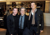 Guest Dexter Fletcher and Barnaby Thompson attend the BAFTA 'Breakthrough Brits' event at Burberry 121 Regent Street London on October 21 2013 in...