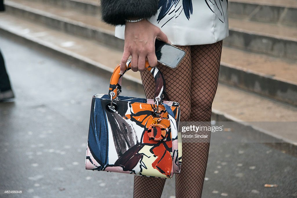 Guest Dior Bag on day 4 of Paris Haute Couture Fashion Week Spring/Summer 2015 on January 28 2015 in Paris France