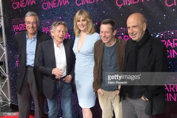 Guest Director Roman Polanski actress Emmanuelle Seigner actor Mathieu Amalric and producer Alain sarde attend the 'Festival Paris Cinema' opening...