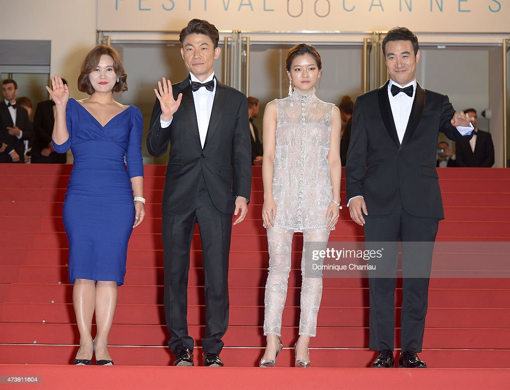 guest, director Won-Chan Hong, Go Ah-sung and Bae Sung-woo attend the 'O Piseu' ('Office') Premiere during the 68th annual Cannes Film Festival on May 18, 2015 in Cannes, France.