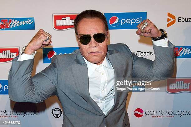 A guest dressed as Arnold Schwarzenegger attends the Music Meets Media 2014 at Grand Hotel Esplanade on September 4 2014 in Berlin Germany