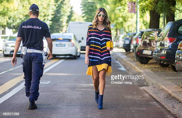 A guest during Milan Fashion Week Spring/Summer 16 on September 24 2015 in Milan Italy