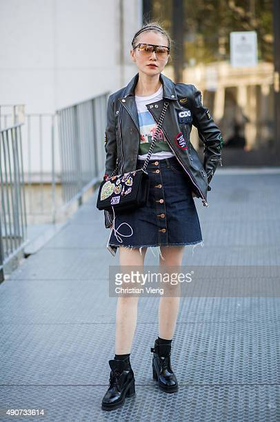 A guest during Paris Fashion Week Womenswear Spring/Summer 2016 on September 30 2015 in Paris France