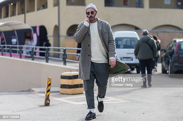 A guest during Pitti Uomo 89 on January 12 in Florence Italy