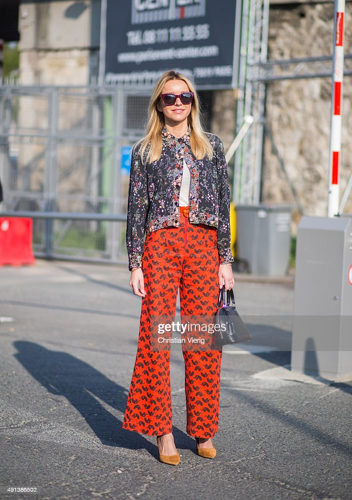 A guest during the Paris Fashion Week Womenswear Spring/Summer 2016 on October 4 2015 in Paris France