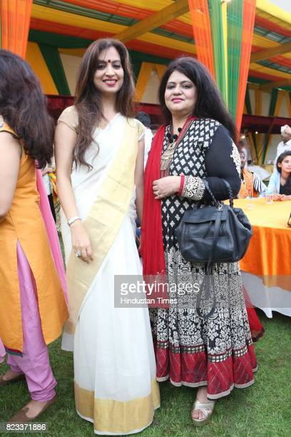 Guest enjoy during the Teej festival celebrations organised at the residence of Union Minster Smriti Irani on July 25 2017 in New Delhi India The...