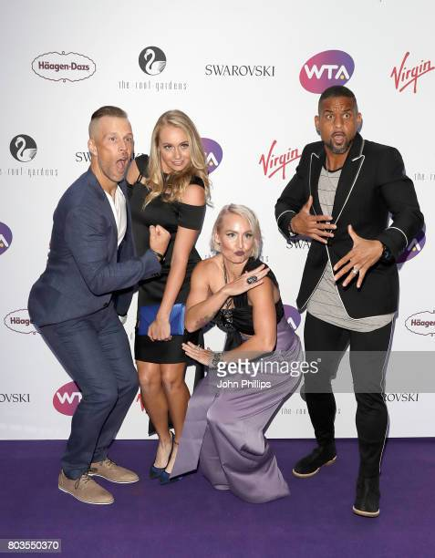guest Fanny Stollar Bethanie MattekSands and Shaun T attend the annual WTA PreWimbledon Party at The Roof Gardens Kensington on June 29 2017 in...