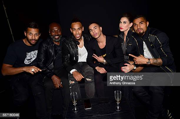 Guest guest PierreEmerick Aubameyang Olivier Rousteing Melissa Satta and KevinPrince Boateng attend the NikeLab X Olivier Rousteing Football Nouveau...