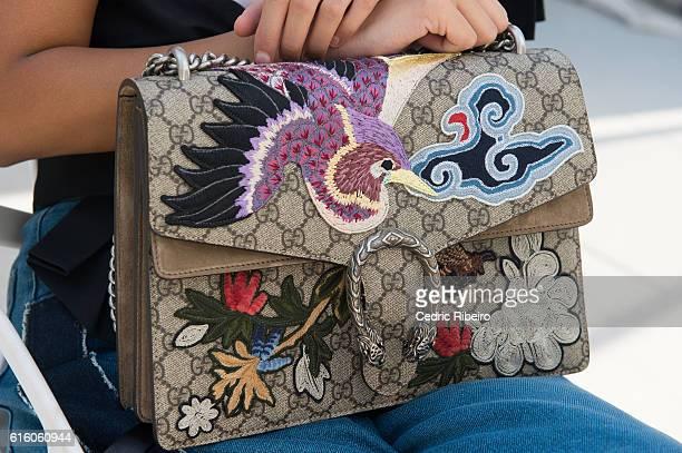 A guest handbag detail attends Fashion Forward Spring/Summer 2017 at the Dubai Design District on October 21 2016 in Dubai United Arab Emirates