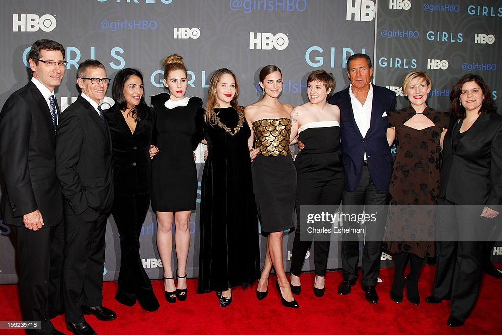 Guest, HBO programming president Michael Lombardo, executive producer Jenni Konner, actresses Zosia Mamet, Jemima Kirke, Allison Williams, creator Lena Dunham, HBO CEO Richard Plepler, HBO President Sue Naegle and executive producer Ilene Landress attend HBO hosts the premiere of 'Girls' Season 2 at the NYU Skirball Center on January 9, 2013 in New York City.