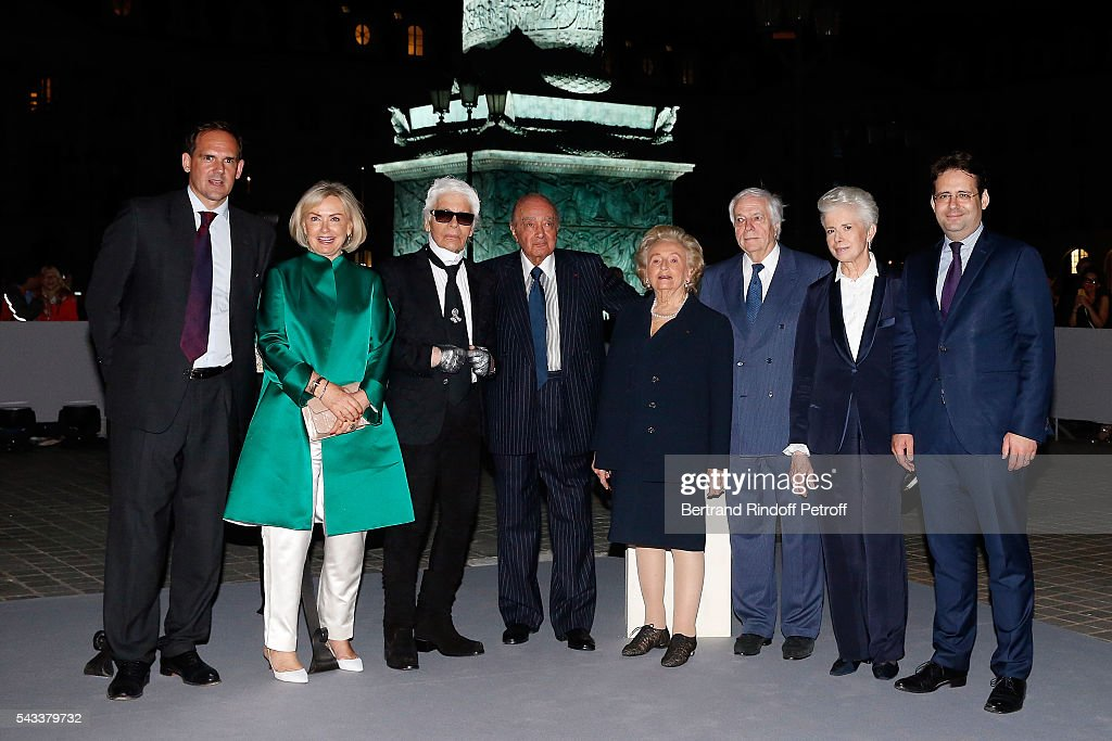 guest, Heini Wathen, Karl Lagerfeld, <a gi-track='captionPersonalityLinkClicked' href=/galleries/search?phrase=Mohamed+Al-Fayed&family=editorial&specificpeople=869906 ng-click='$event.stopPropagation()'>Mohamed Al-Fayed</a>, <a gi-track='captionPersonalityLinkClicked' href=/galleries/search?phrase=Bernadette+Chirac&family=editorial&specificpeople=206432 ng-click='$event.stopPropagation()'>Bernadette Chirac</a>, Franck Klein, Beatrice de Plinval and <a gi-track='captionPersonalityLinkClicked' href=/galleries/search?phrase=Matthias+Fekl&family=editorial&specificpeople=10881572 ng-click='$event.stopPropagation()'>Matthias Fekl</a> attend the 'Colonne Vendome' Is Unveiled After Restoration Works on June 27, 2016 in Paris, France.