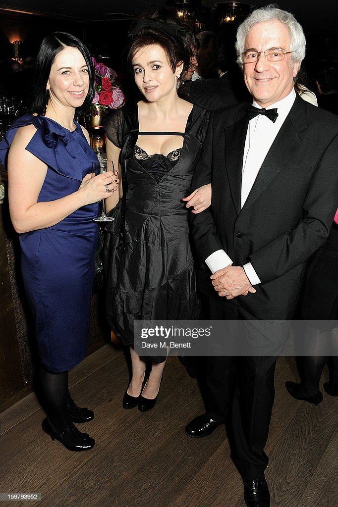 Guest, Helena Bonham Carter and John Reiss attend an after party following the London Critics Circle Film Awards at Quince Restaurant, The May Fair Hotel on January 20, 2013 in London, England.