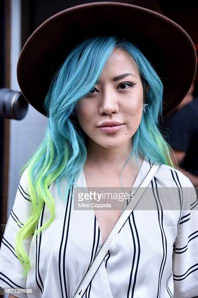 A guest in street style arrives at Spring 2016 New York Fashion Week The Shows at Skylight at Clarkson Sq on September 11 2015 in New York City