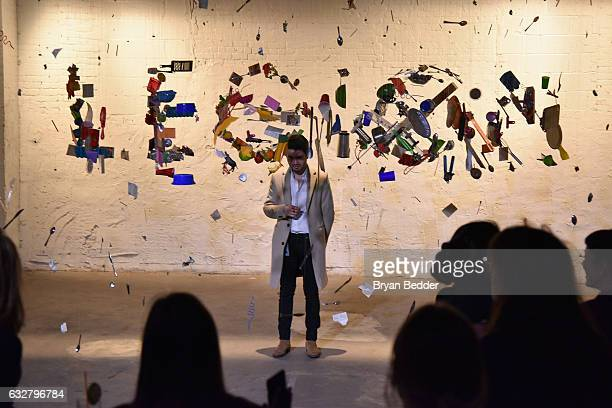A guest interacts with the art installations at the FX's Legion WhereHouse at Villian on January 26 2017 in Brooklyn New York