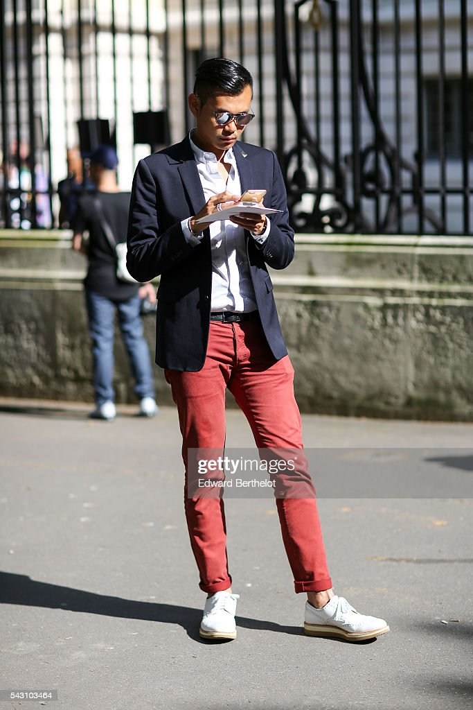 A guest is seen, after the Balmain show, during Paris Fashion Week Menswear Spring/summer 2017, on June 25, 2016 in Paris, France.