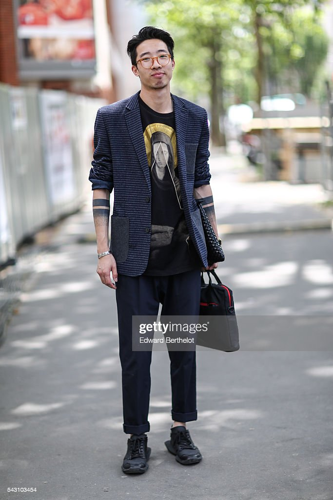 A guest is seen, after the Dior show, during Paris Fashion Week Menswear Spring/summer 2017, on June 25, 2016 in Paris, France.