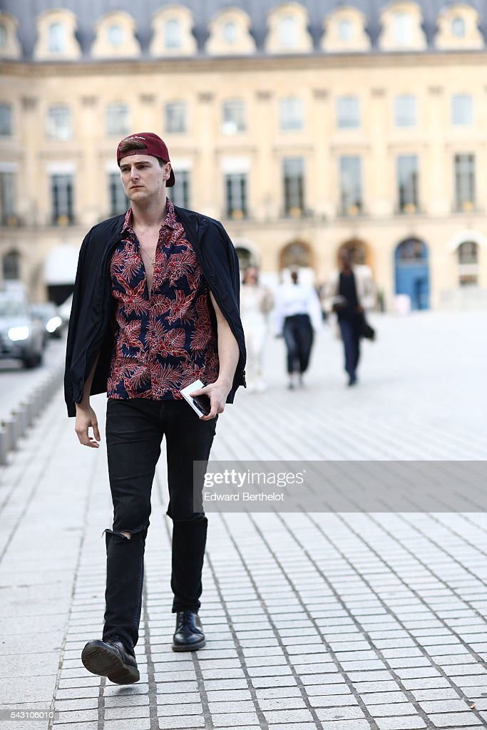 A guest is seen, after the Henrik Vibskov show, during Paris Fashion Week Menswear Spring/summer 2017, on June 25, 2016 in Paris, France.