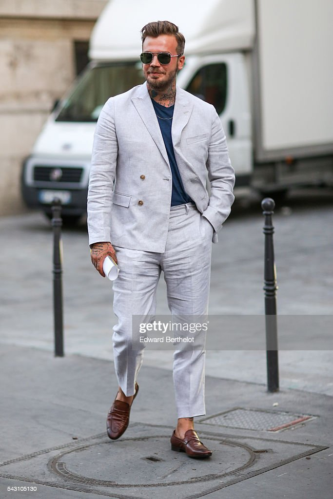 A guest is seen, after the Hermes show, during Paris Fashion Week Menswear Spring/summer 2017, on June 25, 2016 in Paris, France.