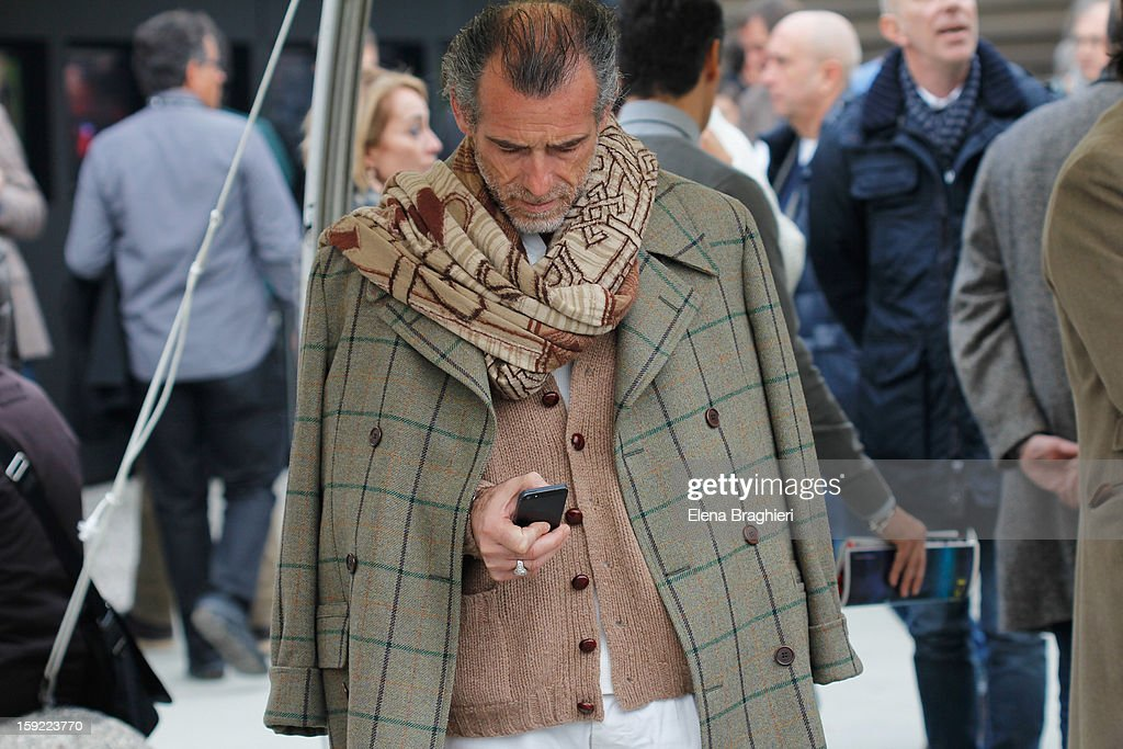 A guest is seen at Pitti Immagine Uomo 83 on January 9, 2013 in Florence, Italy.