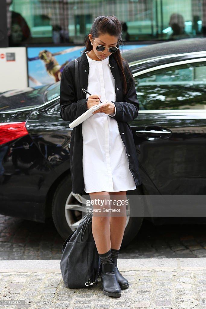 A guest is seen, before the Balmain show, during Paris Fashion Week Menswear Spring/summer 2017, on June 25, 2016 in Paris, France.