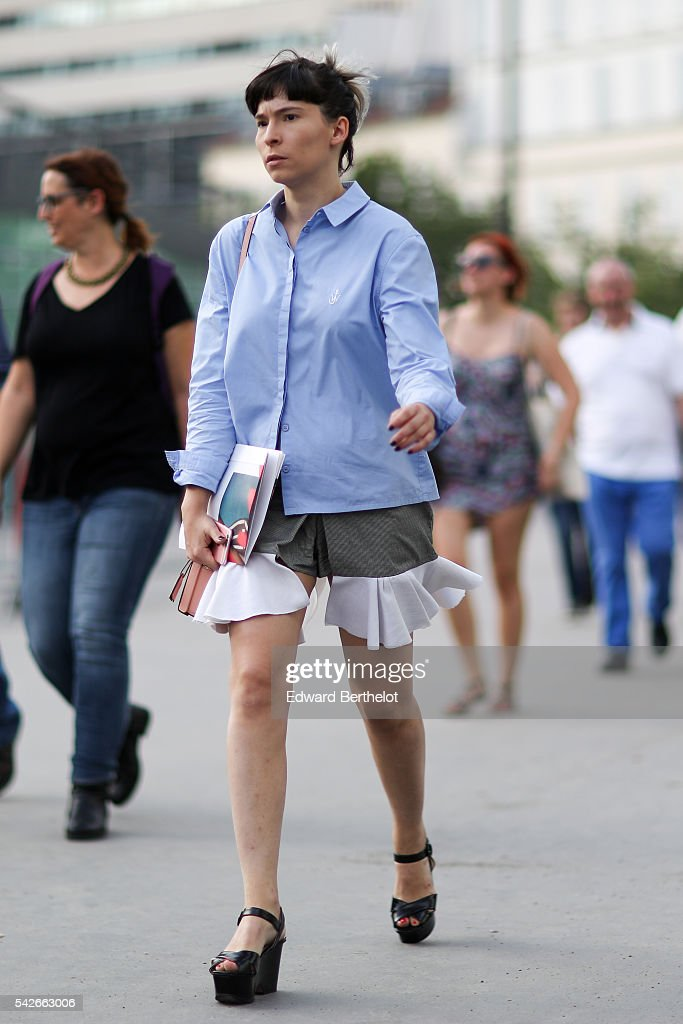 A guest is seen before the Dries Van Noten show during Paris Fashion Week Menswear Spring/summer 2017 on June 23 2016 in Paris France