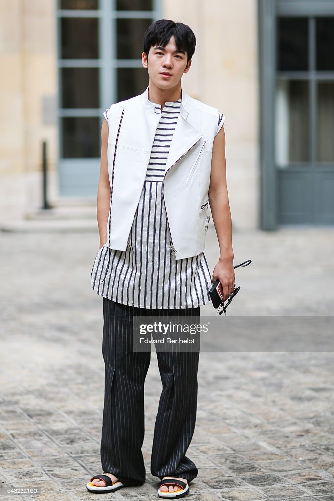 A guest is seen, before the Sean Suen show, during Paris Fashion Week Menswear Spring/summer 2017, on June 26, 2016 in Paris, France.