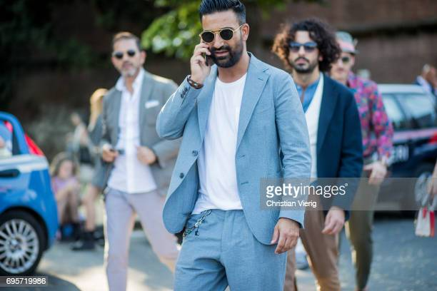 A guest is seen during Pitti Immagine Uomo 92 at Fortezza Da Basso on June 13 2017 in Florence Italy