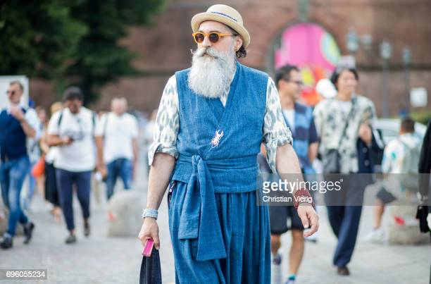A guest is seen during Pitti Immagine Uomo 92 at Fortezza Da Basso on June 14 2017 in Florence Italy