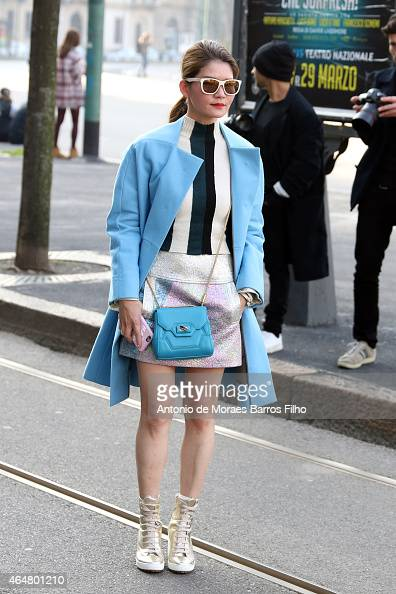 A guest is seen in the streets of Milan arriving at the Jil Sander show during Milan Fashion Week 2015 on February 28 2015 in Milan Italy