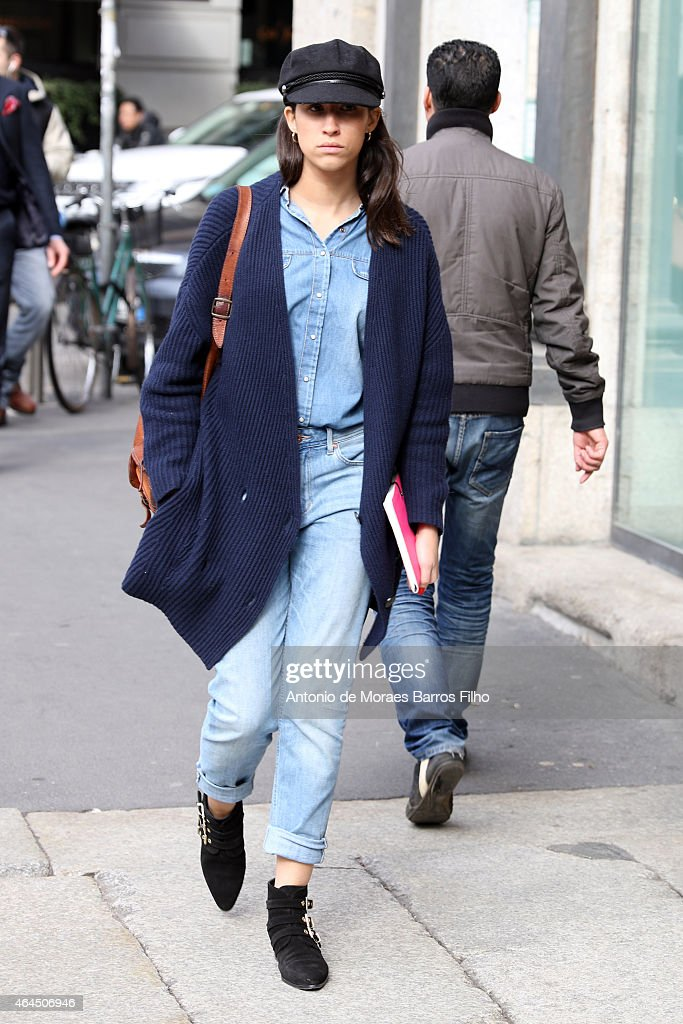A guest is seen in the streets of Milan during Milan Fashion Week 2015 on February 25 2015 in Milan Italy