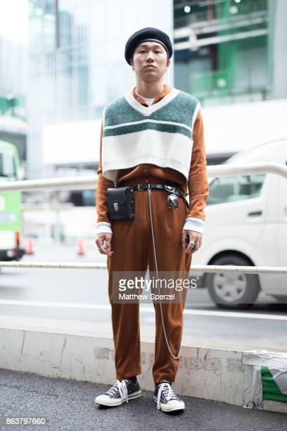 A guest is seen on the street attending Tokyo Fashion Week on October 20 2017 in Tokyo Japan