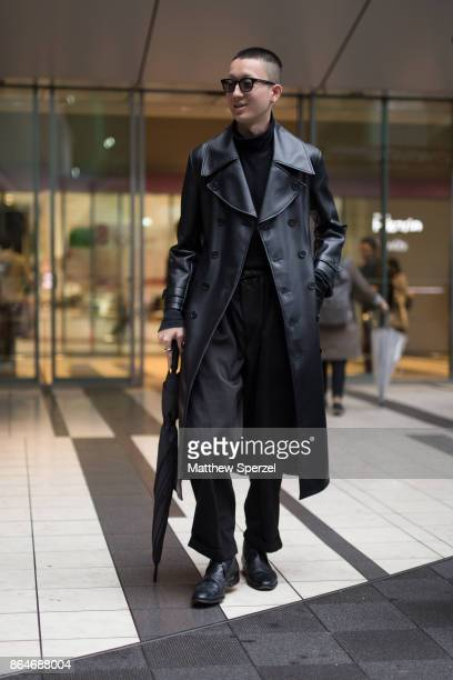 A guest is seen on the street during Tokyo Fashion Week wearing an all black outfit on October 21 2017 in Tokyo Japan