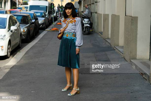 Guest is seen outside Blumarine during Milan Fashion Week Spring/Summer 2018 on September 23 2017 in Milan Italy