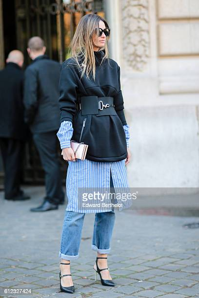 A guest is seen outside of the Giambattista Valli show during Paris Fashion Week Spring Summer 2017 at Grand Palais on October 3 2016 in Paris France