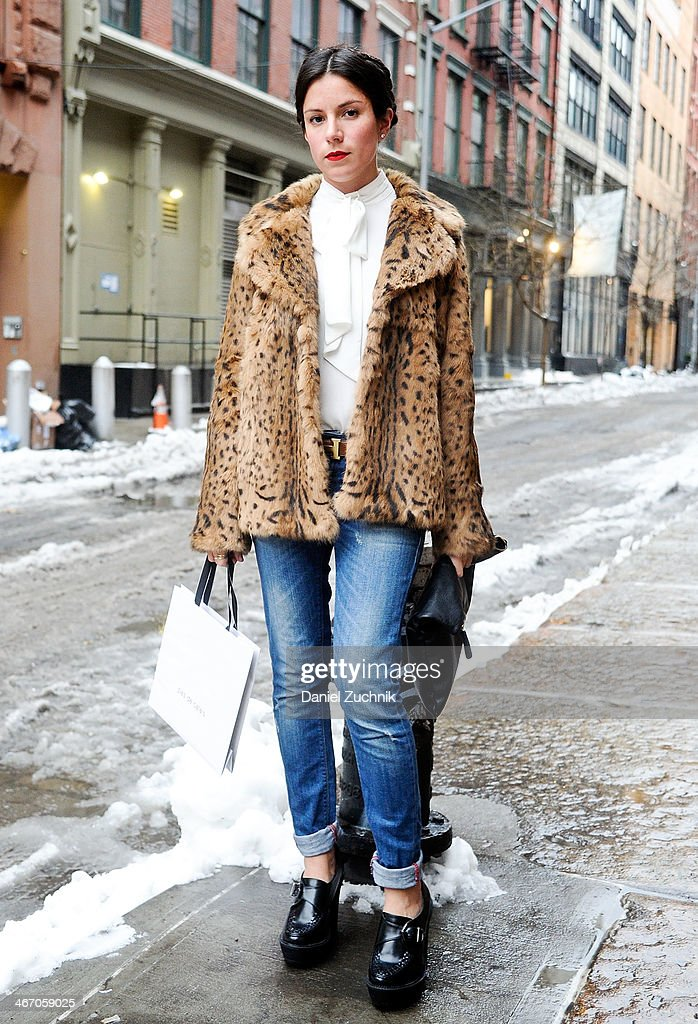 A guest is seen outside the Pas de Calais show on February 5, 2014 in New York City.