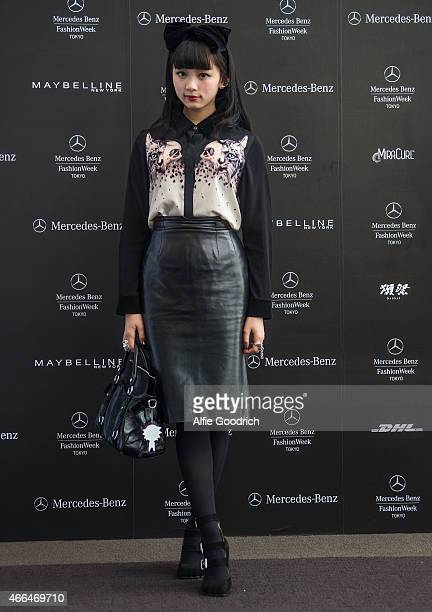 A guest is seen wearing vintage skirt blouse by SORETOSHISA bag by MiuMiu and jewelllery by Vivienne Westwood during the Mercedes Benz Fashion Week...